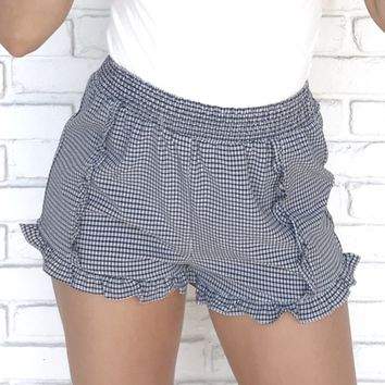 Checkmate Gingham Ruffle Shorts