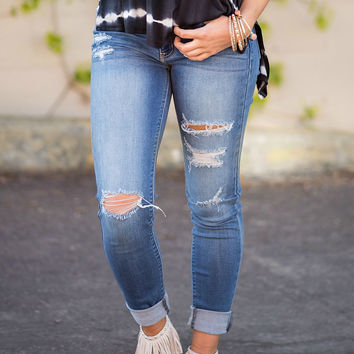 KanCan Summer Night Distressed Skinny Jeans