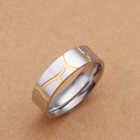DUMAN Fashion Jewelry 925 Sterling Silver Plated Ring Golden Curve Men Ring Valentine's day, Christmas Gifts Size 8