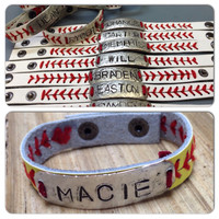 Leather baseball/softball bracelet personalized