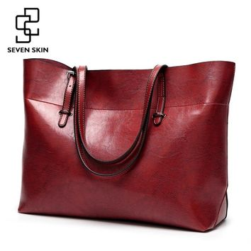 SEVEN SKIN Women Messenger Bags Large Size Female Casual Tote Bag Solid Leather Handbag Shoulder Bag Famous Brand Bolsa Feminina