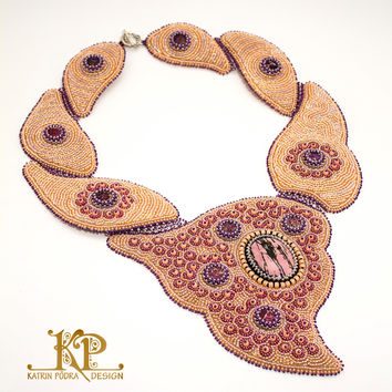 Late Orchid | Bead embroidery statement necklace