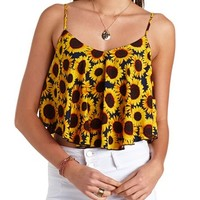 SUNFLOWER PRINT SWING CROP TOP