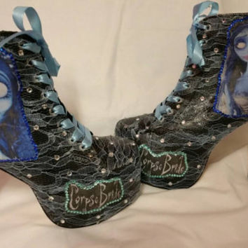 Corpse Bride shoes Heeled Boots Wedding heels Tim burton the nightmare before Christmas Goth Bride Punk