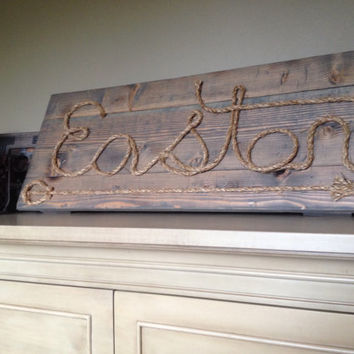 Wood rope sign / rustic nursery sign / name sign / rope sign / country rope sign / wood sign / reclaimed wood sign/ family sign