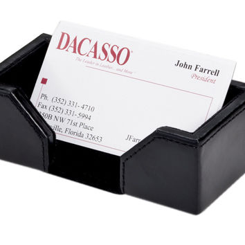 Dacasso Office Desk Tabletop Decorative Econo-Line Black Leather Business Card Holder Display StandEcono-Line Black Leather Business Card Holder