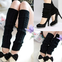 Womens Knitted Knit Dance Leg Warmers Socks Stocking Legging Boot Covers  7_S (Color: Black) = 1916225348