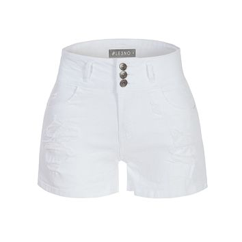 LE3NO Womens Casual High Rise Ripped Stretch White Denim Short with Pockets