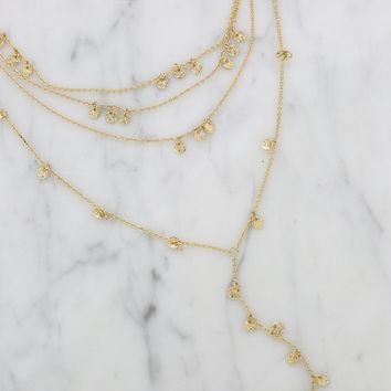 Delicate Layered Chain and Gold Disc Accented Lariat