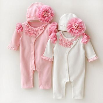 2 Pc Baby Girl Outfit With Fringe and Floral Hat Sizes 3M -9M