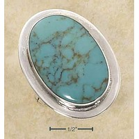 STERLING SILVER EXTRA LARGE BEZEL SET OVAL SIMULATED TURQUOISE RING