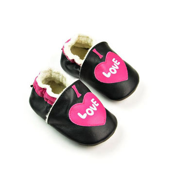 Leather Handcrafts Environmental Baby Black Shoes [4919350852]
