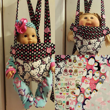 baby doll carrier doll sling 14 - 15 - 16 inch dolls or stuffed animals adjustable will fit Bitty Baby® Cabbage Patch® variety of fabrics