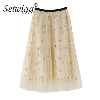 SETWIGG Summer Sequined Golden/Silver Stars Long Pleated Skirts Stretch Waist Layered Tulles Emroidered Stars Sweet Calf Skirts