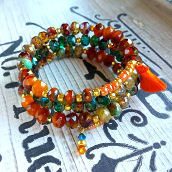 Czech Glass Wrap Bracelet Bohemian Jewelry Teal Rose Brown Green Gold Tassel Bracelet