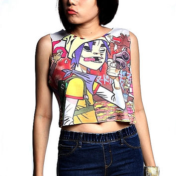 Gorillaz crop top tank shirt women S M L