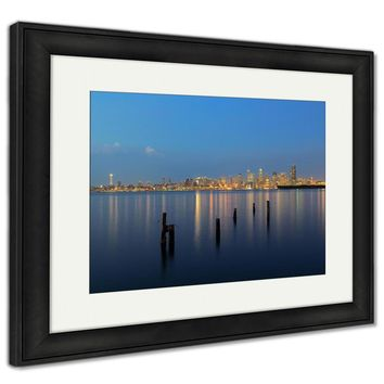 Framed Print, Seattle City Skyline View Over Sea With Urban Architecture And Abandoned Pier