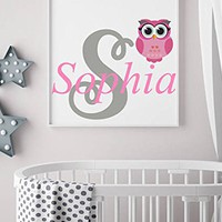 "Wall Decal Personalized Girl Initial Name Vinyl Sticker Owl Colorful Decals Custom Name Nursery Decor Kids Room Childrens Bedroom NS2021 (12"" Tall (Wide depends on name))"