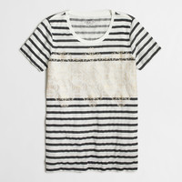 Factory striped jet collector tee in airy cotton