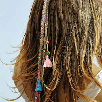 Boho Crochet Headband bohemian beaded Hippie tassel hairband Hair Accessories for Women gift ideas Headbands headpiece handmade  wood beads