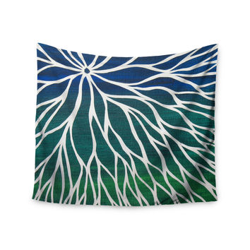 "NL Designs ""Ocean Flower"" Teal Green Wall Tapestry"