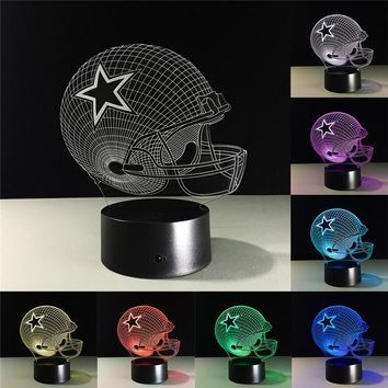 Dallas Cowboys Helmet lamparas 3D led lamp 7 Colors Change acrylic USB LED Table Lamp Kids Gift Creative Night Lamp Drop Ship