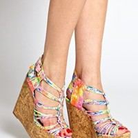 Glarish Multi Strap Platform Wedges