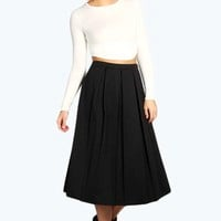 Bree Box Pleat Scuba Midi Skirt