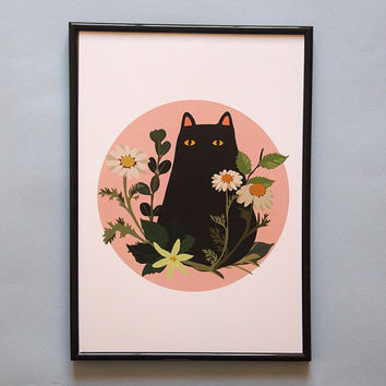 A4 Black Cat with Foliage Print - Black Cat illustration - Cat Print - I like Cats - Black cat - Cat illustration - Cat art - Wall art - art