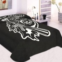 MTCFASHION Sons of Anarchy Reaper Blanket- Soft Plush Thick, Mink Blanket, Queen/Full