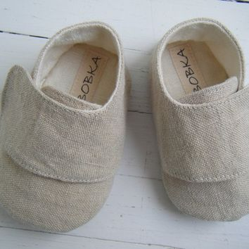 Organic Baby Shoes, Baby Boy Shoes, Baby Girl Shoes, Khaki Hemp Linen, Unisex Shoes, Bobka Shoes by BobkaBaby