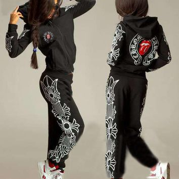 """""""Chrome Hearts"""" Women Casual Fashion Multicolor Letter Print  Hooded Long Sleeve Set Two-Piece Sportswear"""