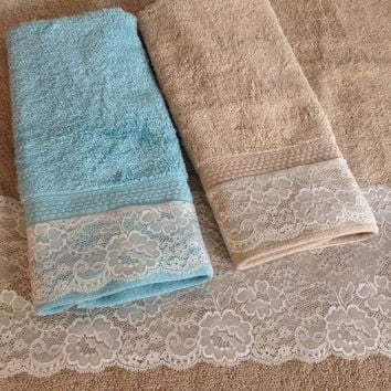 Tan Brown Lace Towel set, Wedding Gift, Decorative towels, Bathroom Guest decor, Fancy Cotton Spa towel, Gift for Mom Boss Friend Coworker