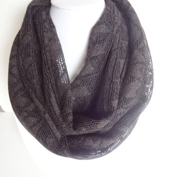 Brown Scarf. Lace Infinity Scarf. Summer Scarf. Geometric Scarf.