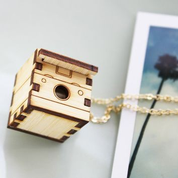 Polaroid Camera Necklace Locket  Wood Vintage Camera by iluxo