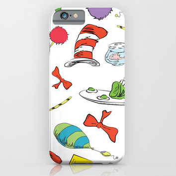 dr seuss pattern..  cat in the hat, lorax, oh the places you'll go,  iPhone & iPod Case by Studiomarshallarts