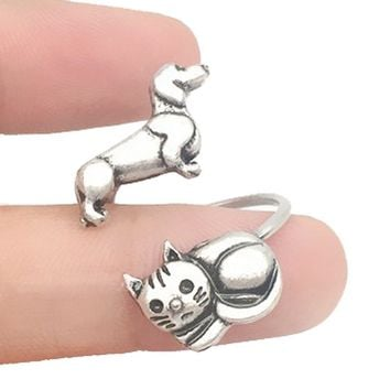 Kitty Cat and Dachshund Puppy Adjustable Wire Wrap Ring in Silver