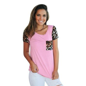 2018 Spring Short Sleeve Cheetah Print Pocket  Fashion Women Casual T Shirts Tops Spring short sleeve Leopard Splice Printing Pocket Round Neck Pullover Tops T Shirt