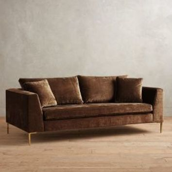 Slub Velvet Edlyn Sofa by Anthropologie