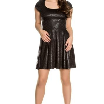 Hell Bunny Neptune Dress Shimmery Black Fish Scale print