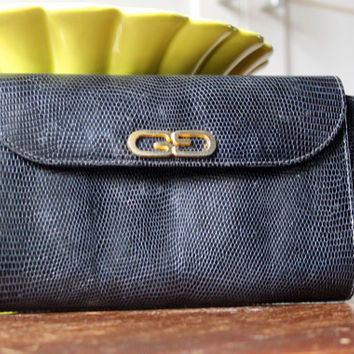 Authentic Gucci Lizard Skin Logo Clutch Bag Vintage Rare deep blue almost black