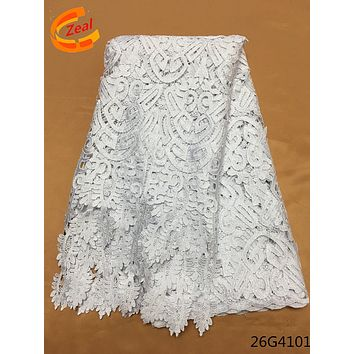Zeal African  5yard Snow Guipure Lace Fabric  High Quality Nigerian Cord Lace Fabric For Wedding Dresses 26G41