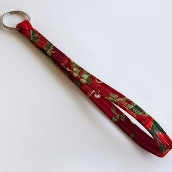 Christmas Lanyard / Christmas Floral / Poinsettia Keychain / Poinsettias / Red and Gold / Key Lanyard / Christmas Flowers / Key Fob