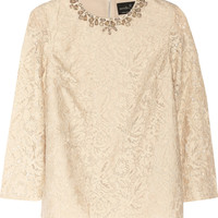 Needle & Thread - Crystal-embellished guipure lace top