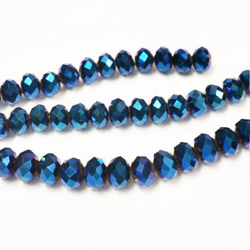 Iridescent Blue Beads 6mm, 4x6mm Faceted Glass Beads , Spacer Bead, Bead Supply, Blue faceted beads, rondelle beads