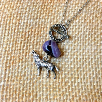 February Toggle Necklace: amethyst birthstone bead and wolf spirit animal charm