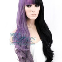 "24"" Long Curly Purple Grey Black Mixed Split Color Lace Front Synthetic Split Color Wig LF869"