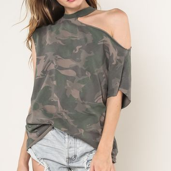 Camo Tee with One Shoulder Cut Out