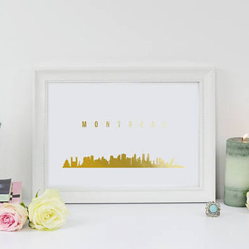Montreal Skyline, Real Gold Foil Print, Montreal Print, Office Decor, Illustration Art Print, Office Art, Canada Art, Canada Cityscape, 8x10
