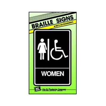 "Hy-Ko DB-2 Braille Women/Handicapped Restroom Sign, 6"" x 9"""